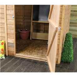 8ft x 6ft (2.37m x 1.79m) Cambridge Overlap Pent Shed With Single Door + 1 Window (solid 10mm OSB Floor)