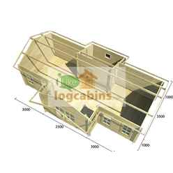 8.5m x 4.5m Premier Morzine Log Cabin - Double Glazing - 44mm Wall Thickness