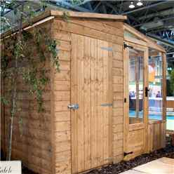 8ft x 8ft (2.5m x 2.5m) Premier Tongue & Groove Combi Pent Shed With 2 Single Doors + Greenhouse (12mm T&G Floor & Roof)