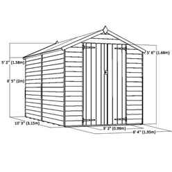 10ft x 6ft (3.01m x 1.90m) Windowless Super Saver Overlap Apex Shed With Double Doors (10mm Solid OSB Floor)
