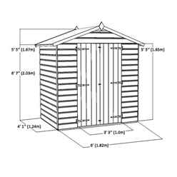 4ft x 6ft (1.15m x 1.83m) Tongue & Groove Windowless Apex Shed With Double Doors (10mm Solid OSB Floor)