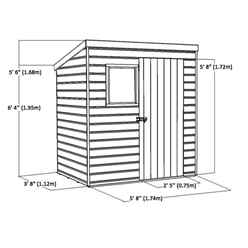 6ft x 4ft (1.83m x 1.22m) Tongue & Groove Pent Shed With Single Door + 1 Window (10mm Solid OSB Floor)