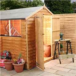10ft x 6ft (3.17m x 1.93m) Cambridge Overlap Apex Shed With Double Doors + 4 Windows (10mm Solid OSB Floor)