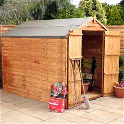 **FLASH REDUCTION** 8ft x 6ft (2.40m x 1.90m) Windowless Super Saver Overlap Apex Shed With Double Doors (solid 10mm OSB Floor)