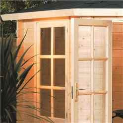 3.35m x 3.35m Corner Kestrel Rowlinson Chalet Log Cabin