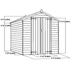 8ft x 6ft (2.44m x 1.83m) Buckingham Overlap Apex Shed With Double Doors + 2 Windows (solid 10mm OSB Floor)