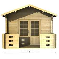 3m x 4m PREMIER VALDISERE Log Cabin - Double Glazing - 44mm Wall Thickness