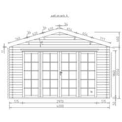 4m x 3m SERRE Log Cabin - Double Glazing - 44mm Wall Thickness