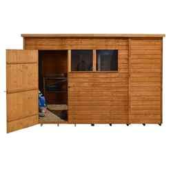 10ft x 6ft Single Door Overlap Pent Wooden Garden Shed + 2 Windows