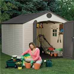 8 x 10 Life Plus Plastic Apex Shed With Plastic Floor + 1 Window (2.43m x 3.05m)