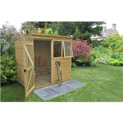 7ft x 5ft Pent Pressure Treated Tongue and Groove Shed - Assembled