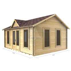 5m x 4m Premier Zermatt Log Cabin - Double Glazing - 34mm Wall Thickness