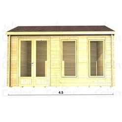 4.5m x 3.5m Premier Megeve Log Cabin - Double Glazing - 34mm Wall Thickness