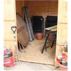 8ft x 6ft (2.41m x 1.91m) Tongue & Groove Apex Shed With Double Doors + 2 Windows (solid 10mm OSB Floor)