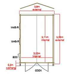 3.80m x 3.59m Log Cabin/Workshop - 34mm Wall Thickness