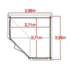 2.96m x 2.96m SINGLE Door Corner Log Cabin - 28mm Wall Thickness
