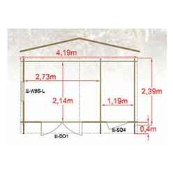 4.19m x 2.39m All Purpose Log Cabin - 44mm Wall Thickness