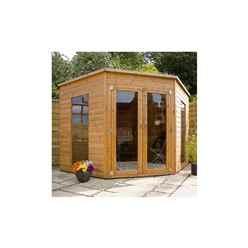 8ft x 8ft (2.42m x 2.42m) Premier Solis Corner Summerhouse (12mm T&G Floor & Roof)