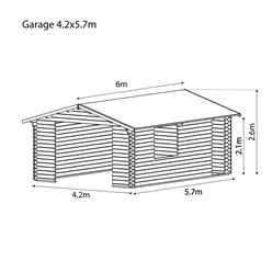 4.2m x 5.7m Garage Log Cabin (Single Glazing) with FREE Felt (44mm)