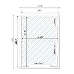 4.2m x 5.7m Garage Log Cabin (Double Glazing) with FREE Felt (44mm)