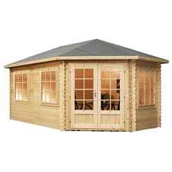 5m x 3m KANSAS Corner Log Cabin (Single Glazing) + Free Floor & Felt & Safety Glass (34mm) - Right Door
