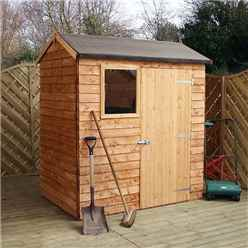 4ft x 6ft (1.22m x 1.83m) Reverse Overlap Apex Shed With Single Door + 1 Window (10mm Solid OSB Floor)