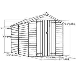 10ft x 6ft (3.02m x 1.91m)Super Saver Overlap Apex Shed With Double Doors + 4 Windows (10mm Solid OSB Floor)