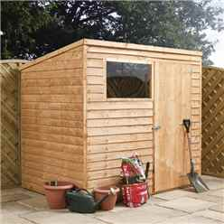 8ft x 6ft (2.43m x 1.83m) Super Saver Overlap Pent Shed With Single Door + 1 Window (solid 10mm Osb Floor)
