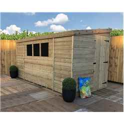 12FT x 8FT Reverse Pressure Treated Tongue & Groove Pent Shed + 3 Windows And Single Door + Safety Toughened Glass (Please Select Left Or Right Panel for Door)