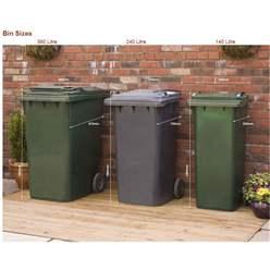 Wheelie Bin & Recycling Box Triple Chest Store - 1 x Wheelie Bin + 4 x Recycling Boxes