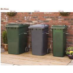 Wheelie Bin & Recycling Box Triple Chest Store - 2 x Wheelie Bin + 2 x Recycling Boxes
