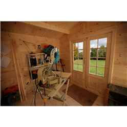 2.2m x 2.2m Compact Log Cabin with Double Doors (28mm Wall Thickness) **Includes Free Shingles**