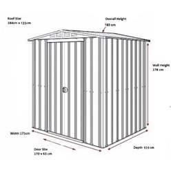 6ft x 4ft Premier EasyFix – Apex – Metal Shed - Heritage Green (1.84m x 1.23m)