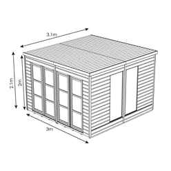 10ft x 10ft (3.06m x 3.12m) Poolhouse Summerhouse (12mm T&G Floor & Roof)