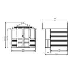 7ft x 7ft (2.12m x 1.95m) Devon Summerhouse (1/2 Styrene Glazed Doors) (10mm Solid OSB Floor & Roof)