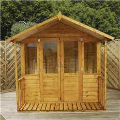 7ft x 8ft (2.11m x 2.54m) Devon Summerhouse (1/2 Styrene Glazed Doors) (10mn Solid OSB Floor & Roof)