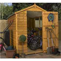 INSTALLED 7ft x 5ft (2.13m x 1.60m) Super Saver Overlap Apex Shed with Single Door + 2 Windows (10mm Solid OSB Floor & Roof) - INCLUDES INSTALLATION