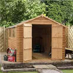INSTALLED 10ft x 8ft (3.01m x 1.90m) Super Saver Overlap Apex Shed With Double Doors + 4 Windows (10mm Solid Osb Floor) - INCLUDES INSTALLATION