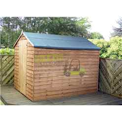 INSTALLED 8ft x 6ft (2.40m x 1.90m) Super Saver Overlap Apex Windowless Shed With Single Door (Solid 10mm OSB Floor) - INCLUDES INSTALLED
