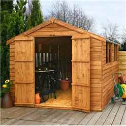 INSTALLED 12ft x 8ft (3.57m x 2.48m) Super Saver Overlap Apex Shed With Double Doors + 4 Windows (10mm Solid OSB Floor) - INCLUDES INSTALLATION