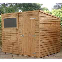INSTALLED 8ft x 6ft (2.43m x 1.83m) Super Saver Overlap Pent Shed With Single Door + 1 Window (solid 10mm Osb Floor) - INCLUDES INSTALLATION