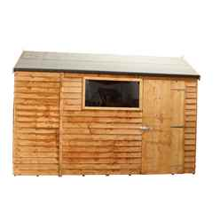 INSTALLED 6ft x 10ft (1.95m x 3.15m) Reverse Overlap Apex Shed With Single Door + 1 Window (10mm Solid OSB Floor) - INCLUDES INSTALLATION