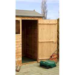 INSTALLED 4ft x 6ft (1.22m x 1.83m) Reverse Overlap Apex Shed With Single Door + 1 Window (10mm Solid OSB Floor) - INCLUDES INSTALLATION