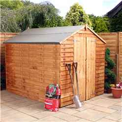 INSTALLED 8ft x 6ft (2.40m x 1.90m) Windowless Super Saver Overlap Apex Shed With Double Doors (solid 10mm OSB Floor) - INCLUDES INSTALLATION