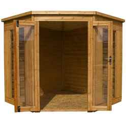 INSTALLED 7ft x 7ft (2.13m x 2.13m) Solis Corner Summerhouse (10mm Solid OSB Floor & Roof) - INCLUDES INSTALLATION
