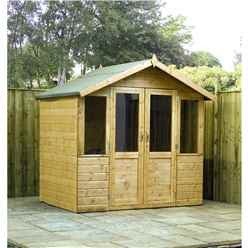 INSTALLED 7ft x 5ft (2.12m x 1.48m) Devon Summerhouse (1/2 Styrene Glazed Doors) (10mm Solid OSB Floor & Roof) - INCLUDES INSTALLATION