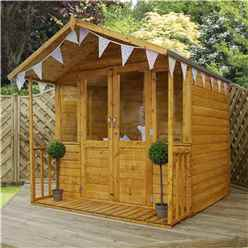 INSTALLED 7ft x 7ft (1.95m x 2.12m) Devon Summerhouse (1/2 Styrene Glazed Doors) (10mm Solid OSB Floor & Roof) - INCLUDES INSTALLATION
