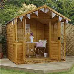 INSTALLED 7ft x 8ft (2.11m x 2.54m) Devon Summerhouse (1/2 Styrene Glazed Doors) (10mn Solid OSB Floor & Roof) - INCLUDES INSTALLATION