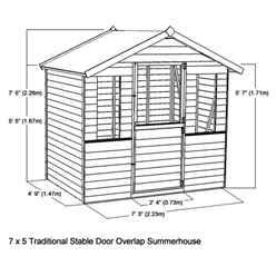 *DISCO 2/1/19* INSTALLED 7ft x 5ft (2.12m x 1.48m) Newmarket Overlap Summerhouse + Stable Door (10mm Solid OSB Floor) - INCLUDES INSTALLATION