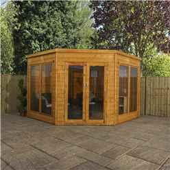 INSTALLED 9ft x 9ft (2.8m x 2.8m) Solis Premier Corner Summerhouse (Tongue and Groove Roof and Floor) - INCLUDES INSTALLATION